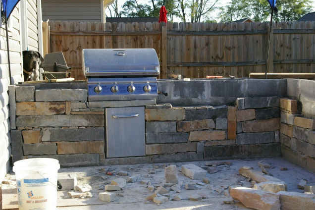 Outdoor kitchen project Houston TX job site