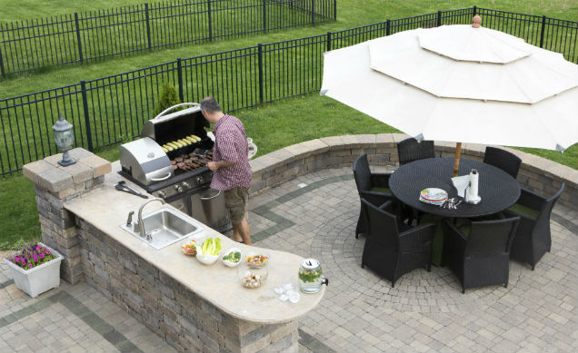 View from above of new built kingwood backyard kitchen