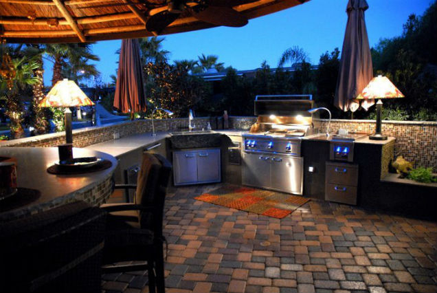 Houston outdoor kitchen project photo setting at night