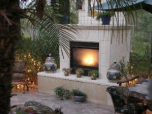 Backyard outdoor fireplace